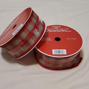 2 Spools Red/Beige 2.5 in Ribbon